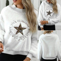 Fashion Sequin Star Long Sleeve Round Neck Pullover Sweater