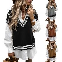 Simple Style Contrast Color Sleeveless V-neck Knit Vest