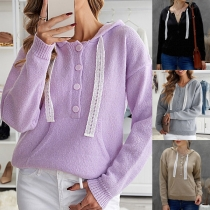 Fashion Solid Color Long Sleeve Front-button Lace Drawstring Hooded Knit Top