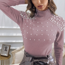 Fashion Solid Color Long Sleeve Turtleneck Beaded Sweater