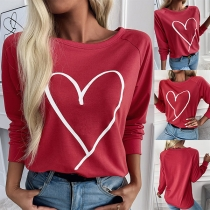 Casual Style Long Sleeve Round Neck Heart Printed T-shirt