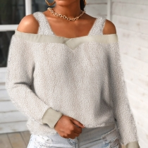 Sexy Off-shoulder Long Sleeve Solid Color Plush Sling Top