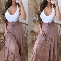 Fashion Solid Color Elastic Drawstring High Waist Maxi Skirt