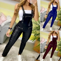Playful Style High Waist Slim Fit PU Leather Overalls