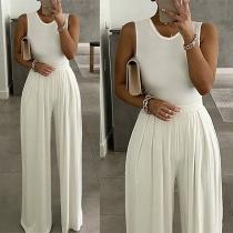 Elegant Solid Color Sleeveless Round Neck High Waist Jumpsuit