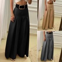 Fashion Solid Color High Waist Wide-leg Pants