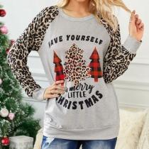 Fashion Leopard Printed Long Sleeve Round Neck Christmas Sweatshirt