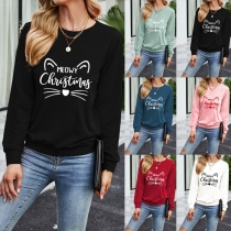 Cute Cat Pattern Long Sleeve Round Neck Sweatshirt T-shirt