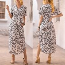 Fashion Solid Color Long Sleeve V-neck Slit Hem Leopard Printed Calf-length Dress