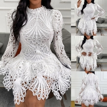 Sexy Long Sleeve Mock Neck Irregular Hem Hollow Out Lace Dress