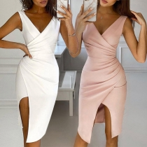 Sexy Deep V-neck Slit Hem Sleeveless Solid Color Slim Fit Dress