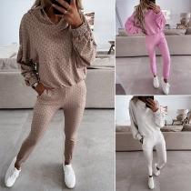 Casual Style Long Sleeve Printed Hoodie + Pants Two-piece Set