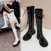 Retro Style Thick Sole Round Toe Lace-up Buckle Knight Boots