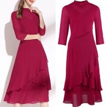 Elegant Solid Color 3/4 Sleeve Irregular Mock Neck Ruffle Hem Solid Color Chiffon Dress