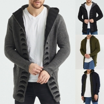 Fashion Solid Color Long Sleeve Hooded Man's Knit Sweater Coat