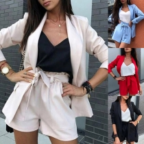 OL Style Long Sleeve Solid Color Blazer + Shorts Two-piece Set
