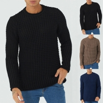 Simple Style Long Sleeve Round Neck Man's T-shirt