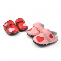 Cute Contrast Color Heart Pattern Round Toe Breathable Baby Toddler Shoes