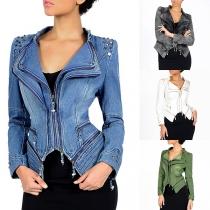 Punk Style Long Sleeve Irregular Hem Slim Fit Rivets Denim Coat
