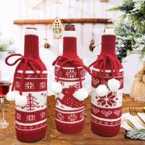 Cute Christmas Theme Hairball Spliced Knit Wine Bottle Cover Bag-3 Piece/Set