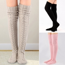 Fashion Solid Color Over-the-knee Knit Stockings  2 Pair/Set