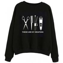 Casual Style Long Sleeve Round Neck Hair Trimmer Printed Black Sweatshirt