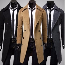 Fashion Solid Color Double-breasted Men's Woolen Coat