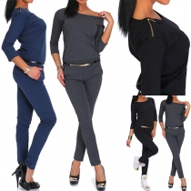 Fashion Solid Color 3/4 Sleeve Round Neck Slim Fit Jumpsuits(without belt)