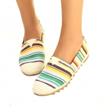 Leisure Round Toe  Colorful Stripe Print Loafers