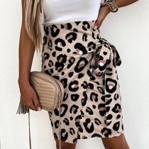 Fashion High Waist Irregular Hem Leopard Printed Lace-up Skirt