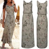 Fashion Sleeveless Round Neck Printed Maxi Dress