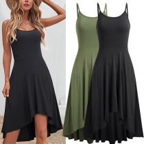 Sexy Backless High Waist Irregular Hem Solid Color Sling Dress