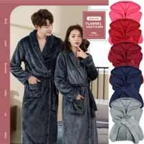 Fashion Solid Color Long Sleeve Couple Plush Robe with Waist Strap