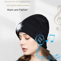 Wireless Bluetooth Beanie Hat with 5 LED Headlamp, Unisex Musical Cap USB Rechargeable Headlight, Headlamp Headphone Music Beanie for Sports Outdoors