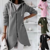 Fashion Long Sleeve Hooded Irregular Hem Solid Color Sweatshirt Coat