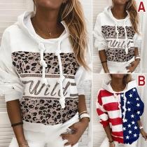 Fashion Long Sleeve Hooded Printed Sweatshirt