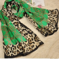 Cool Green Leopard Scarf