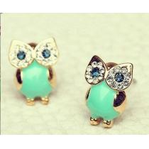 Cute Green Retro Owl Sparkly Rhinestones Stud Earring Lady Gifts