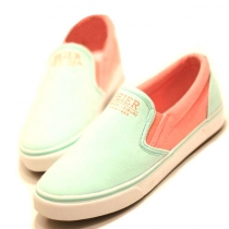 Leisure Simple Mixing Color  Canvas Loafers