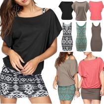 Fashion Dolman Sleeve T-shirt + Printed Tank Dress Two-piece Set