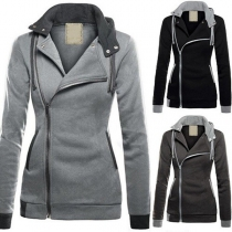 Casual Style Hooded Long Sleeve Oblique Zipper Jacket For Women