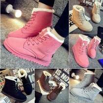 Classic Style Solid Color Lace-up Round Toe Flat Boots For Women